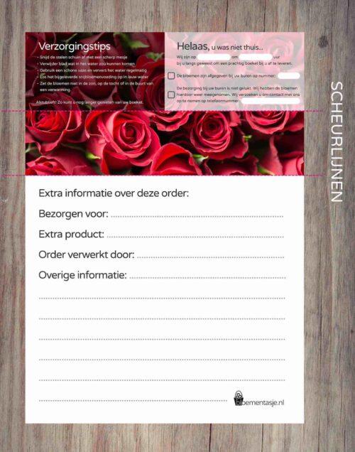 Orderbonnen template FLORANL roos