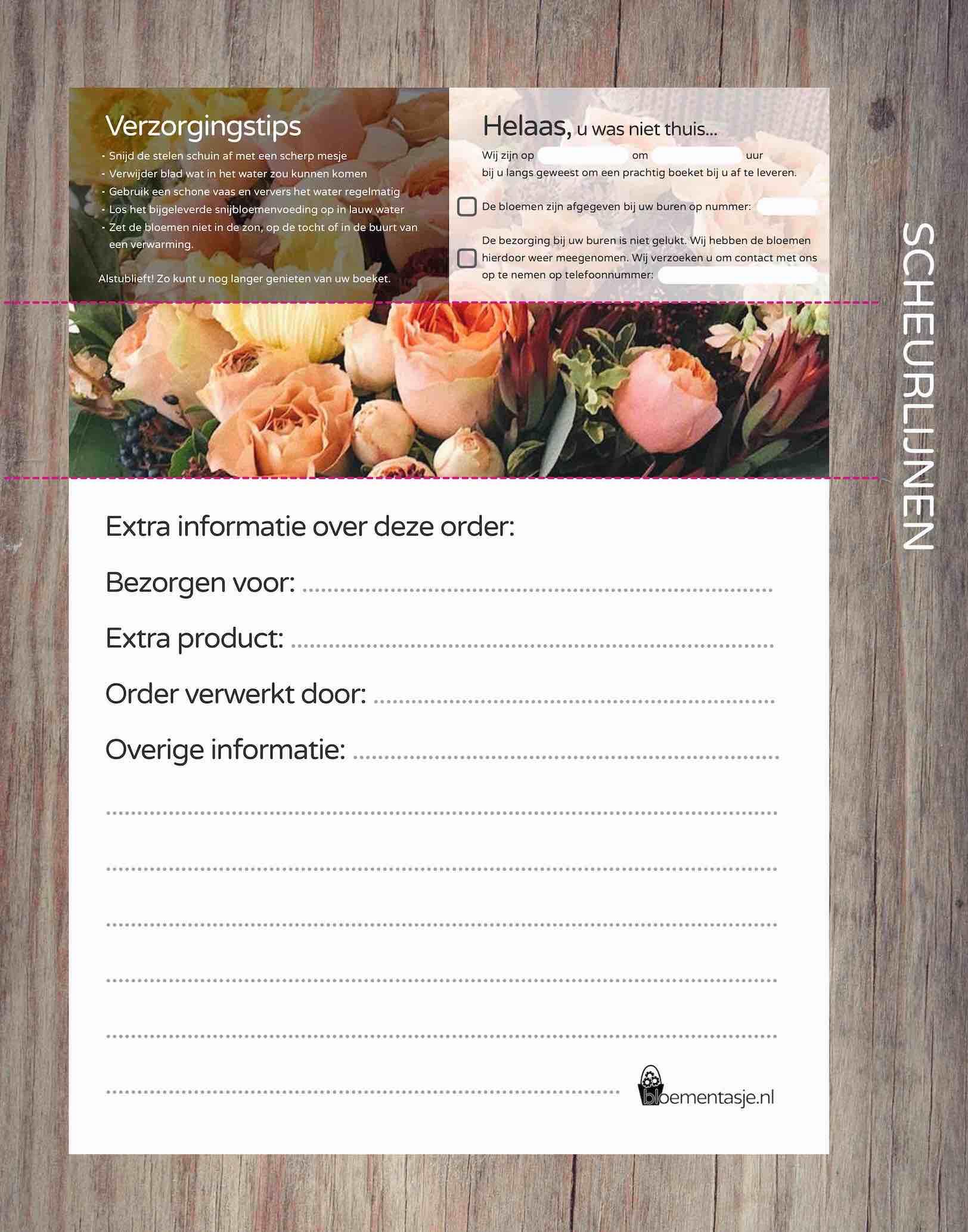 Orderbonnen template WEBBLOEMEN boeket