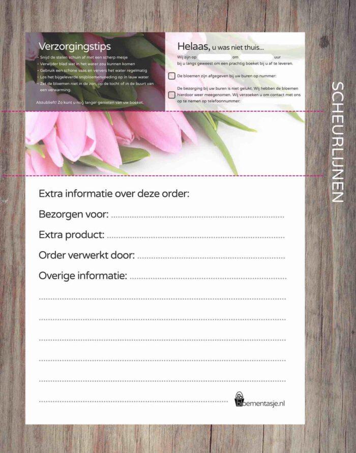 Orderbonnen template WEBBLOEMEN tulp